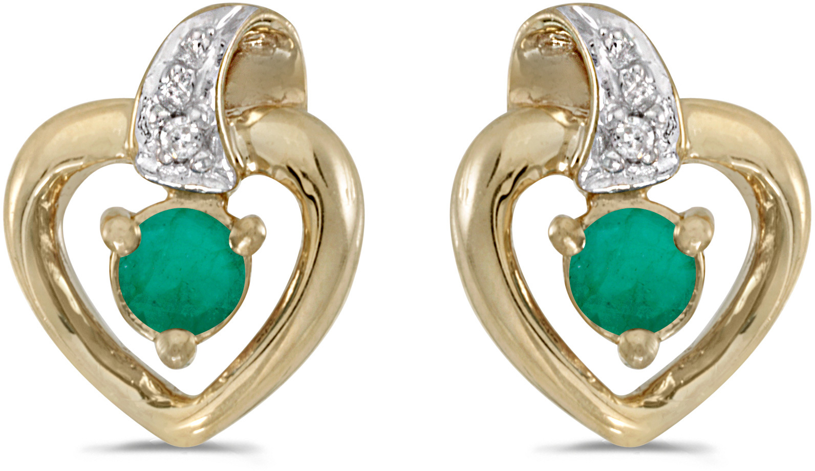 14k Yellow Gold Round Emerald And Diamond Heart Earrings