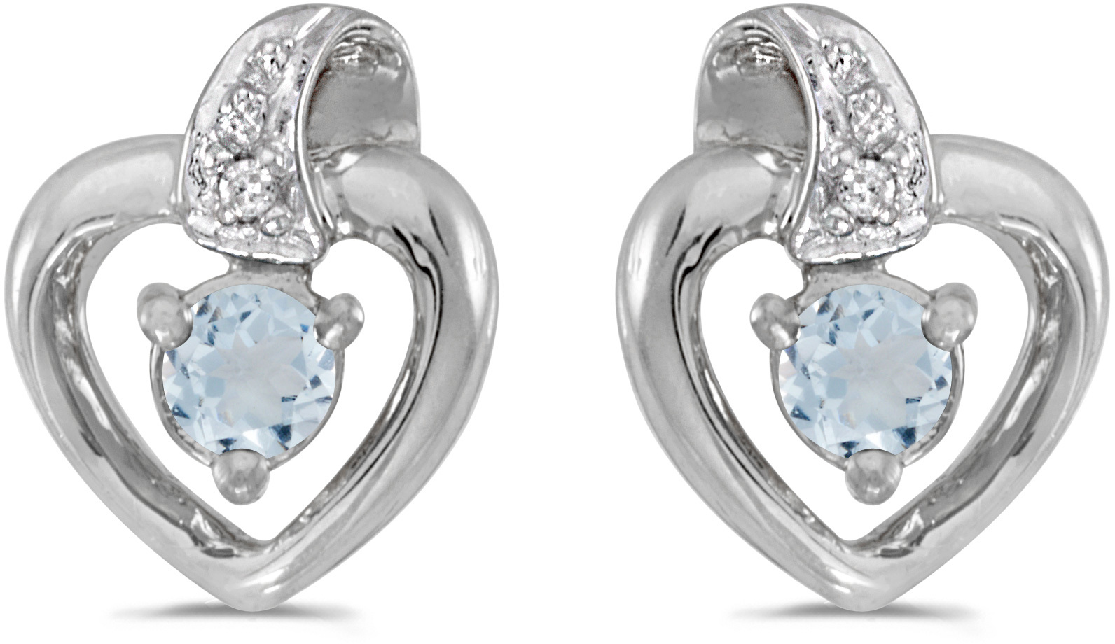 14k White Gold Round Aquamarine And Diamond Heart Earrings
