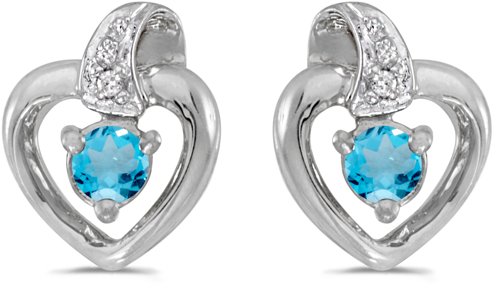 14k White Gold Round Blue Topaz And Diamond Heart Earrings