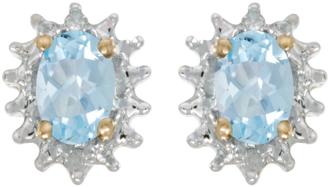 14k Yellow Gold Oval Aquamarine And Diamond Earrings (CM-E1342X-03)
