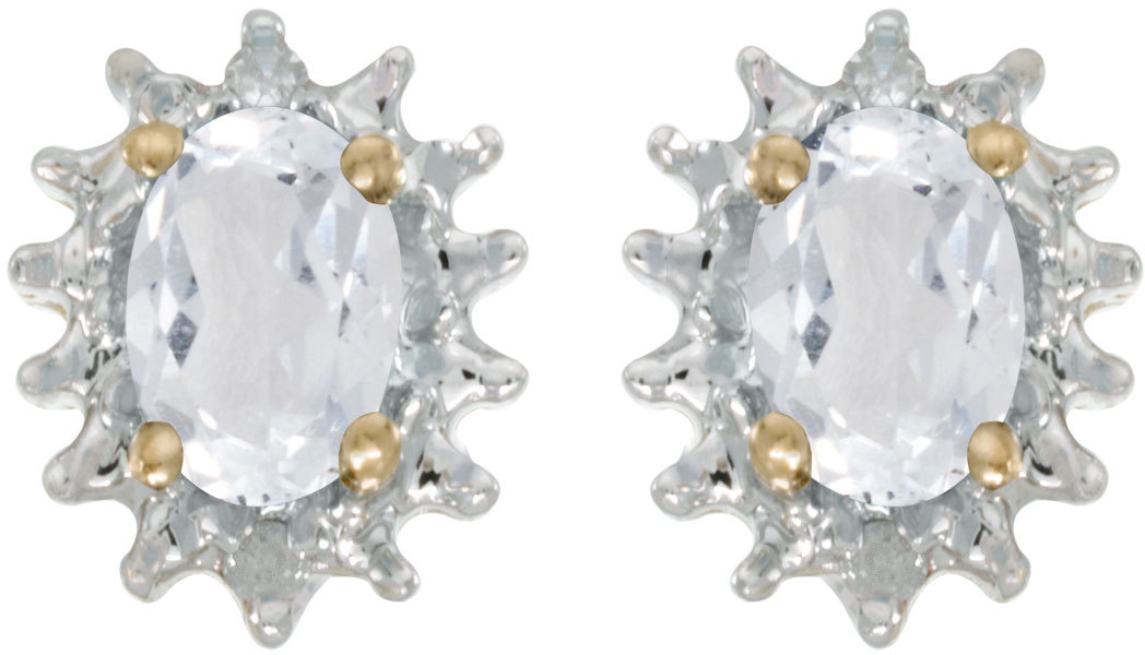 14k Yellow Gold Oval White Topaz And Diamond Earrings (CM-E1342X-04)