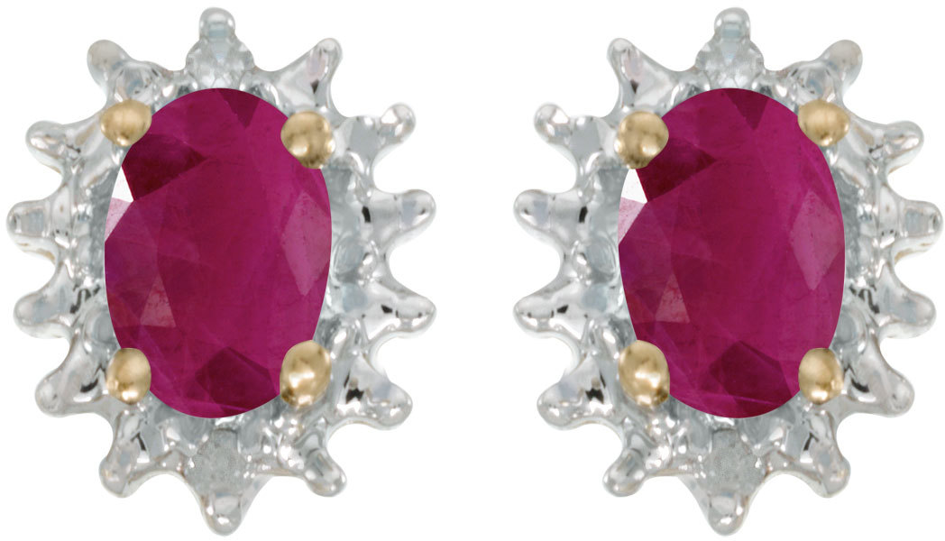 14k Yellow Gold Oval Ruby And Diamond Earrings (CM-E1342X-07)