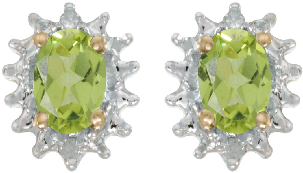 14k Yellow Gold Oval Peridot And Diamond Earrings (CM-E1342X-08)
