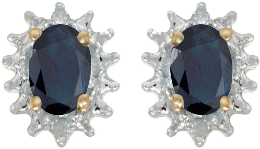 14k Yellow Gold Oval Sapphire And Diamond Earrings (CM-E1342X-09)