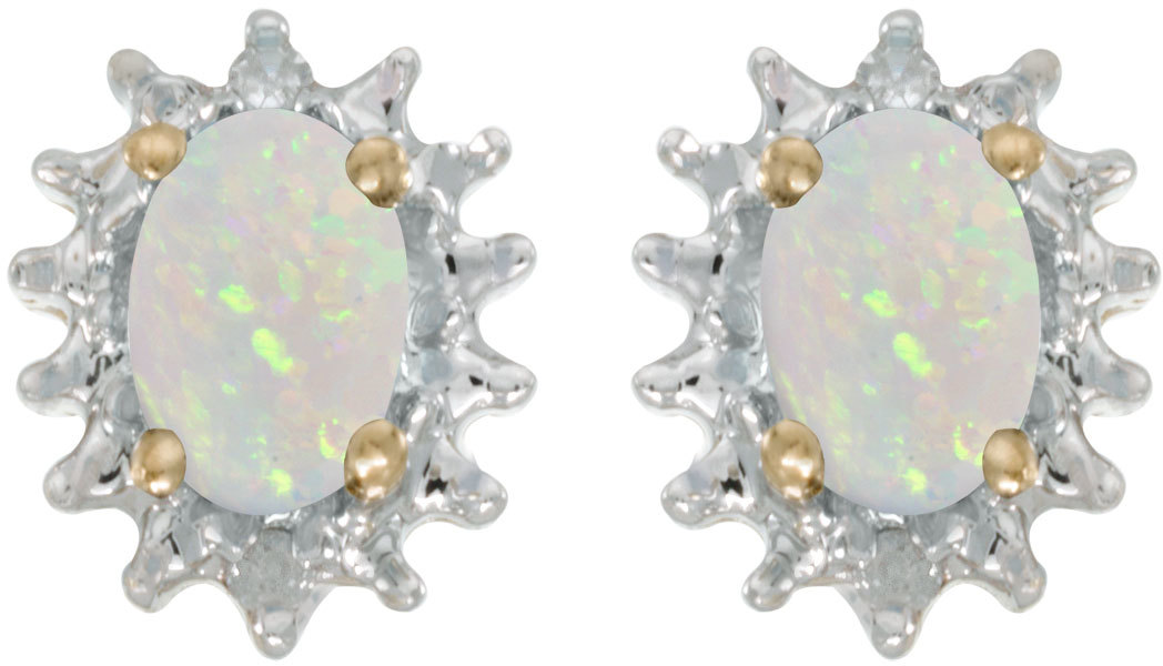 14k Yellow Gold Oval Opal And Diamond Earrings (CM-E1342X-10)