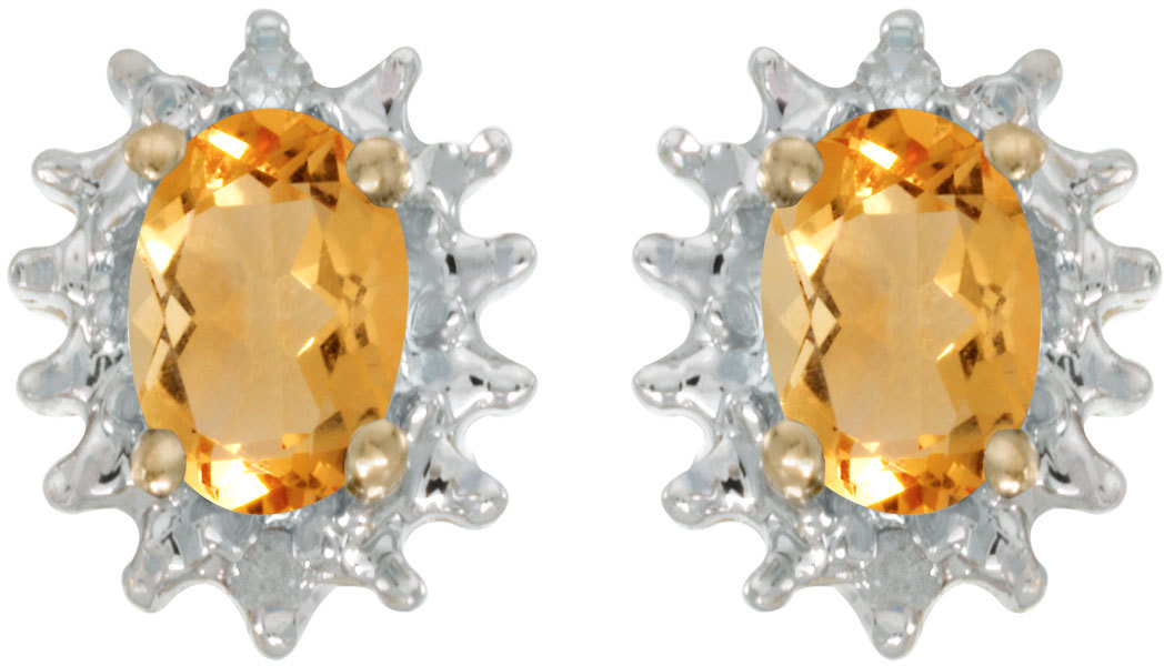 14k Yellow Gold Oval Citrine And Diamond Earrings (CM-E1342X-11)