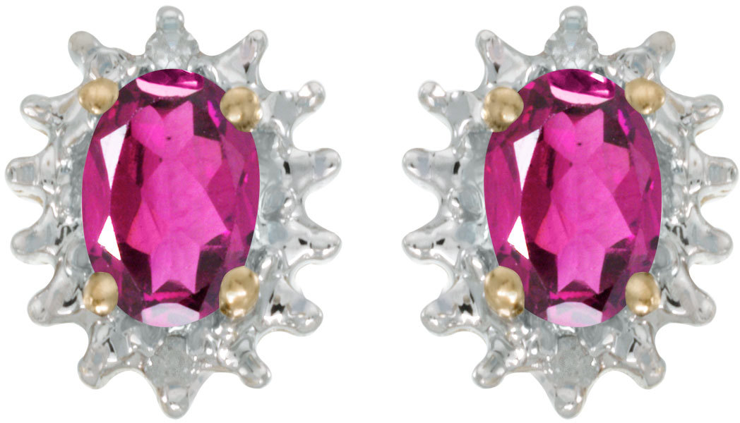 14k Yellow Gold Oval Pink Topaz And Diamond Earrings (CM-E1342X-PT)