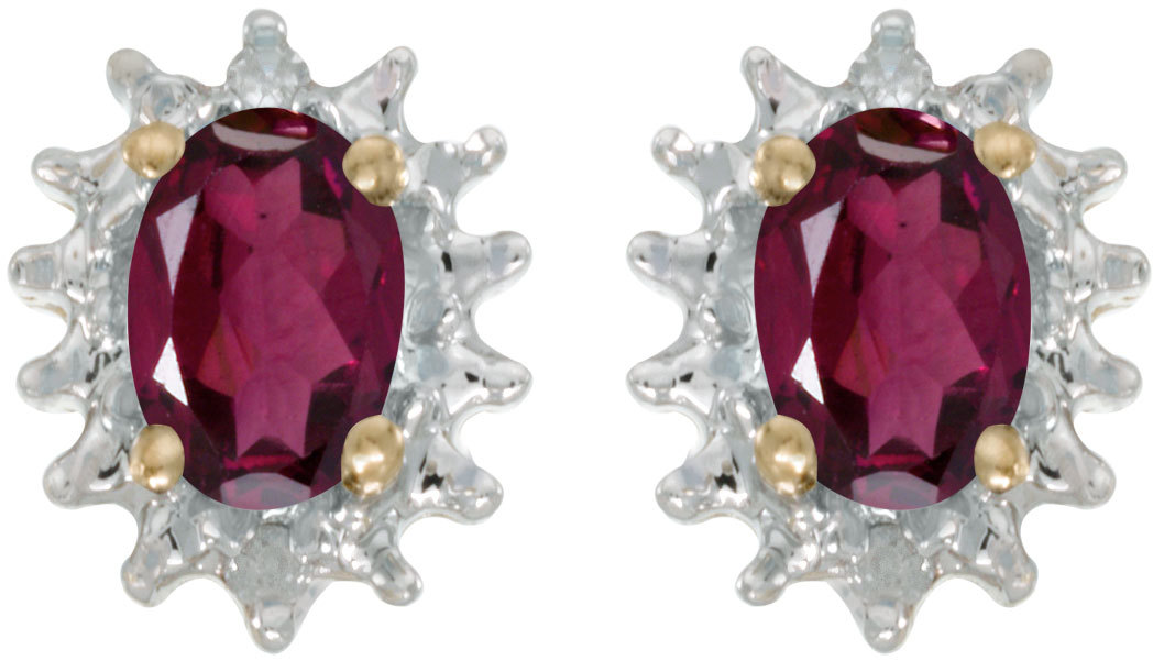 14k Yellow Gold Oval Rhodolite Garnet And Diamond Earrings (CM-E1342X-RG)