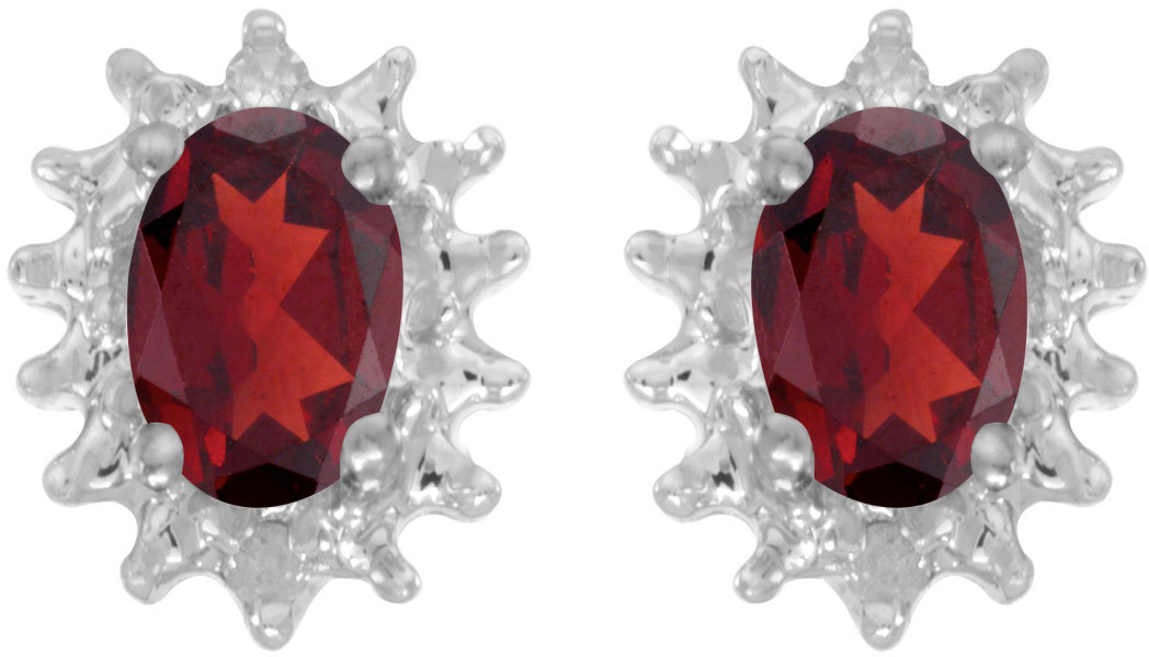 14k White Gold Oval Garnet And Diamond Earrings (CM-E1342XW-01)