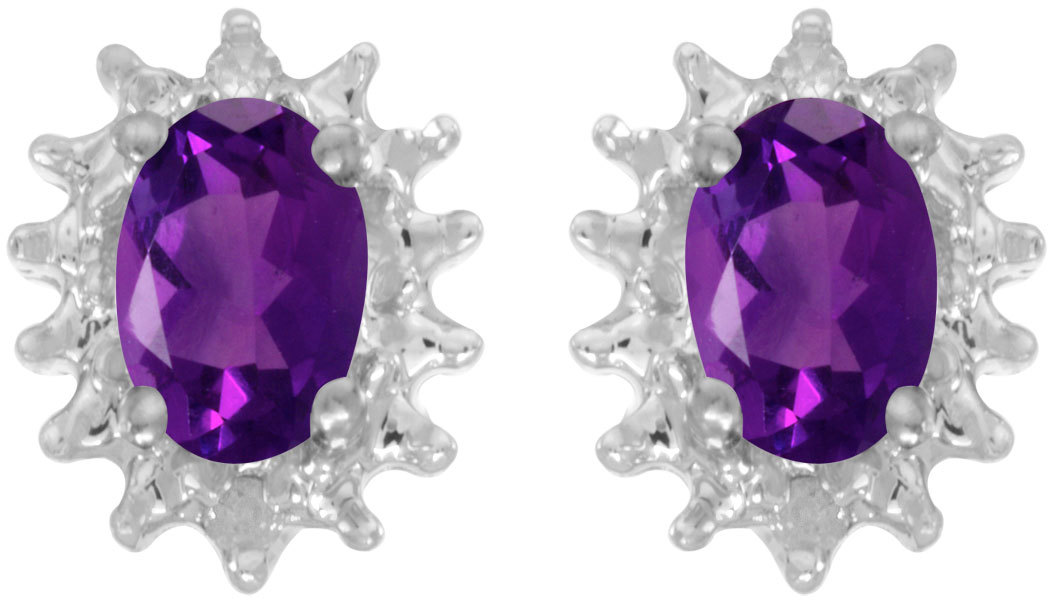 14k White Gold Oval Amethyst And Diamond Earrings (CM-E1342XW-02)