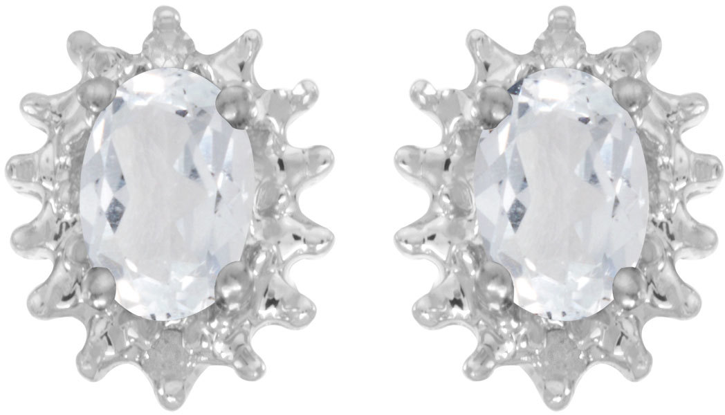 14k White Gold Oval White Topaz And Diamond Earrings (CM-E1342XW-04)