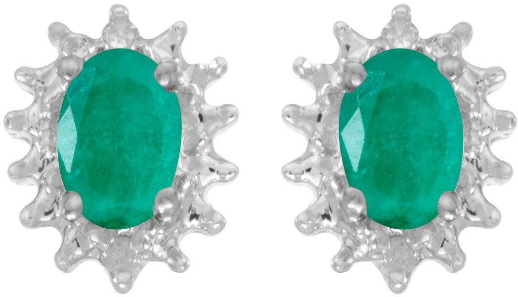 14k White Gold Oval Emerald And Diamond Earrings (CM-E1342XW-05)