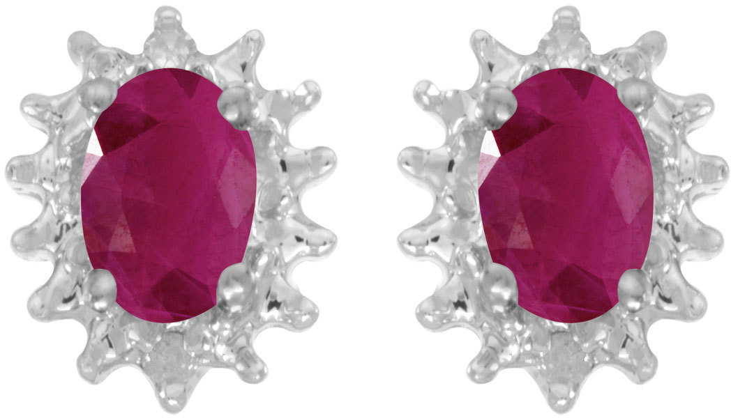 14k White Gold Oval Ruby And Diamond Earrings (CM-E1342XW-07)
