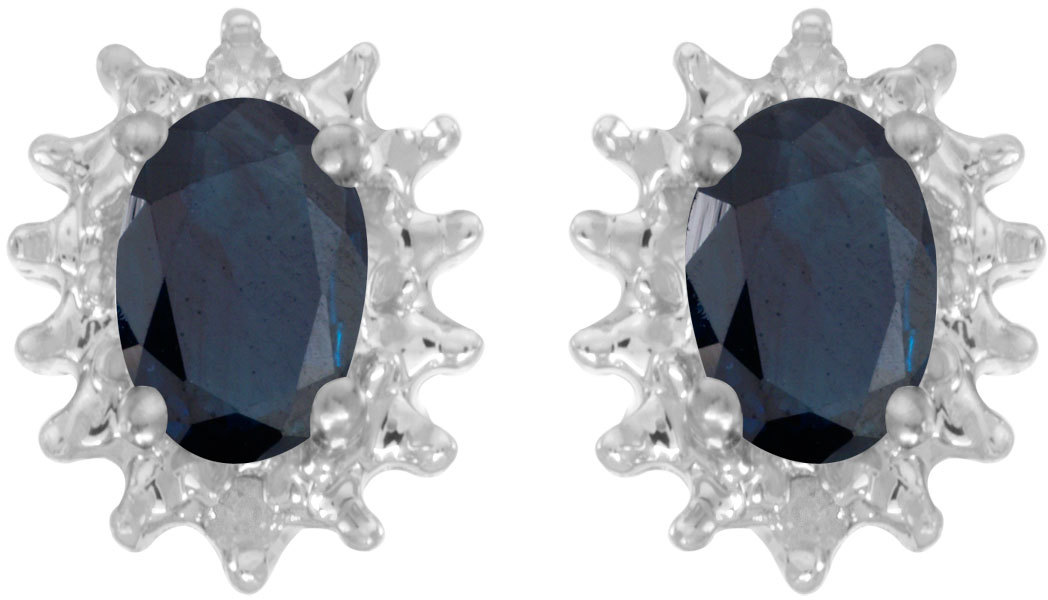 14k White Gold Oval Sapphire And Diamond Earrings (CM-E1342XW-09)