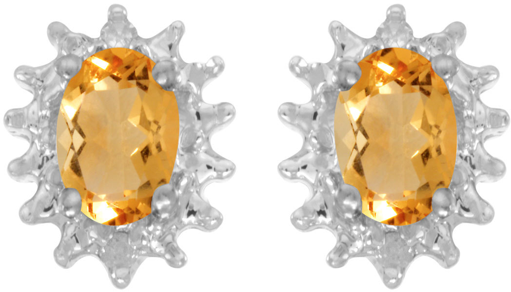 14k White Gold Oval Citrine And Diamond Earrings (CM-E1342XW-11)