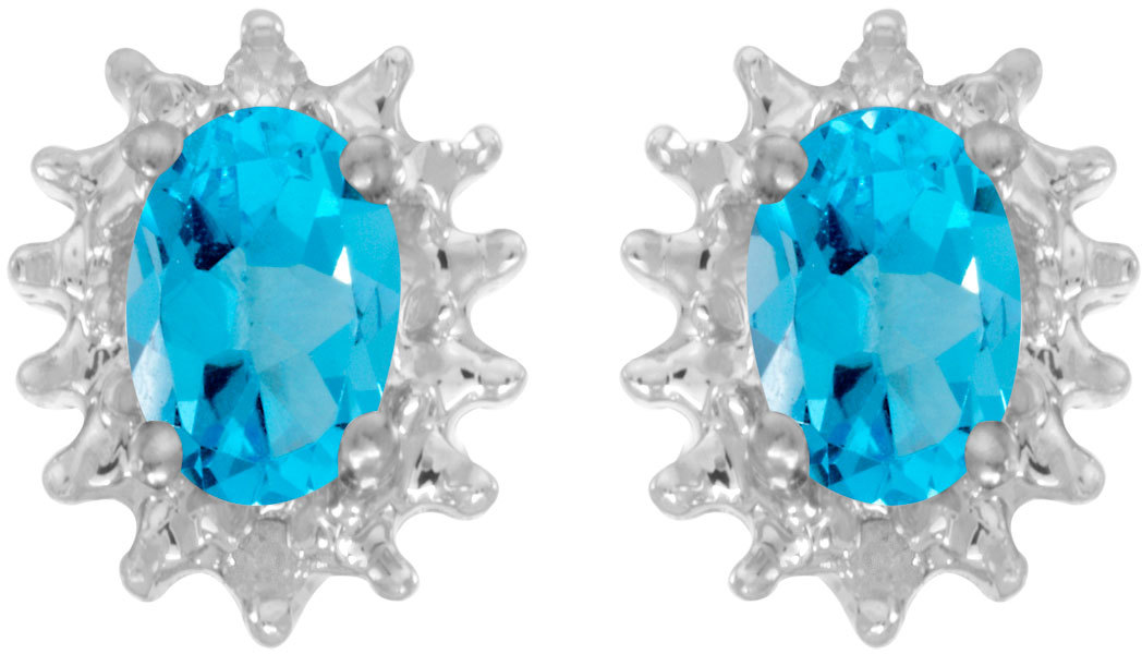 14k White Gold Oval Blue Topaz And Diamond Earrings (CM-E1342XW-12)