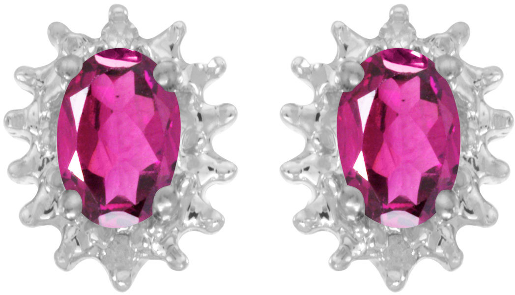 14k White Gold Oval Pink Topaz And Diamond Earrings (CM-E1342XW-PT)