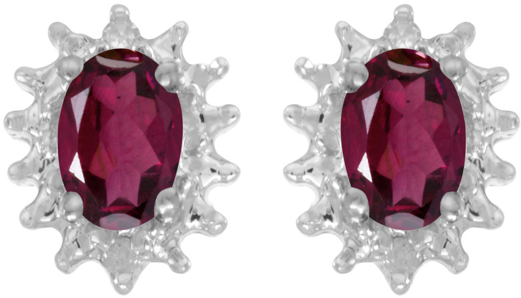 14k White Gold Oval Rhodolite Garnet And Diamond Earrings (CM-E1342XW-RG)