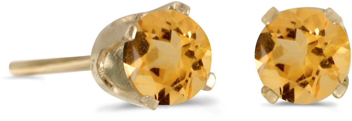 14k Yellow Gold Round Citrine Stud Earrings