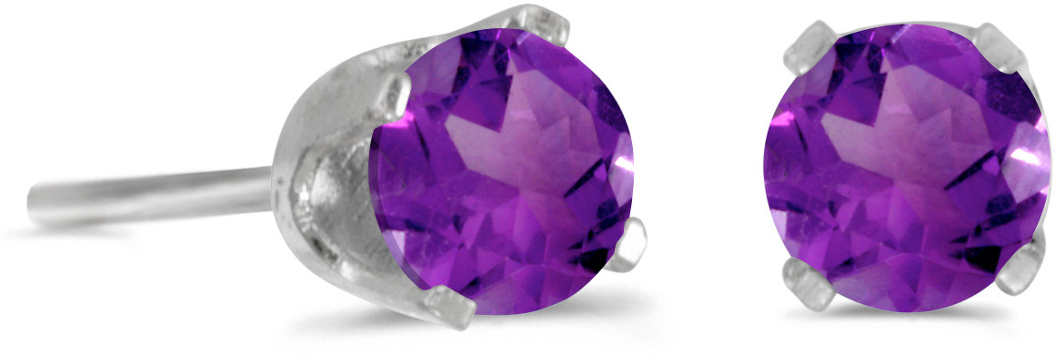 14k White Gold Round Natural Amethyst Stud Earrings