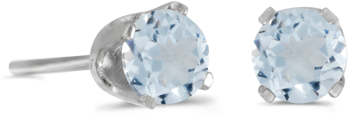 14k White Gold Round Aquamarine Stud Earrings