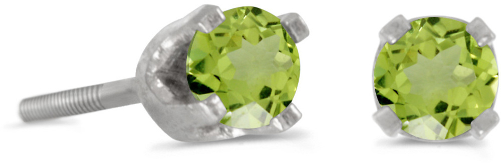 14k White Gold Round Peridot Screw-back Stud Earrings