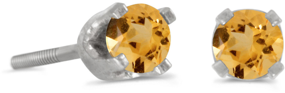 14k White Gold Round Natural Citrine Screw-back Stud Earrings