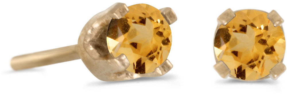 14k Yellow Gold Round Citrine Stud Earrings (CM-E1420X-11)