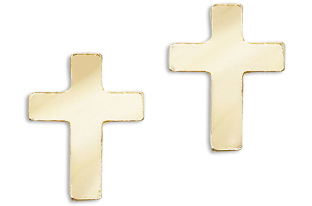 14K Yellow Gold Baby Cross Screwback Earrings