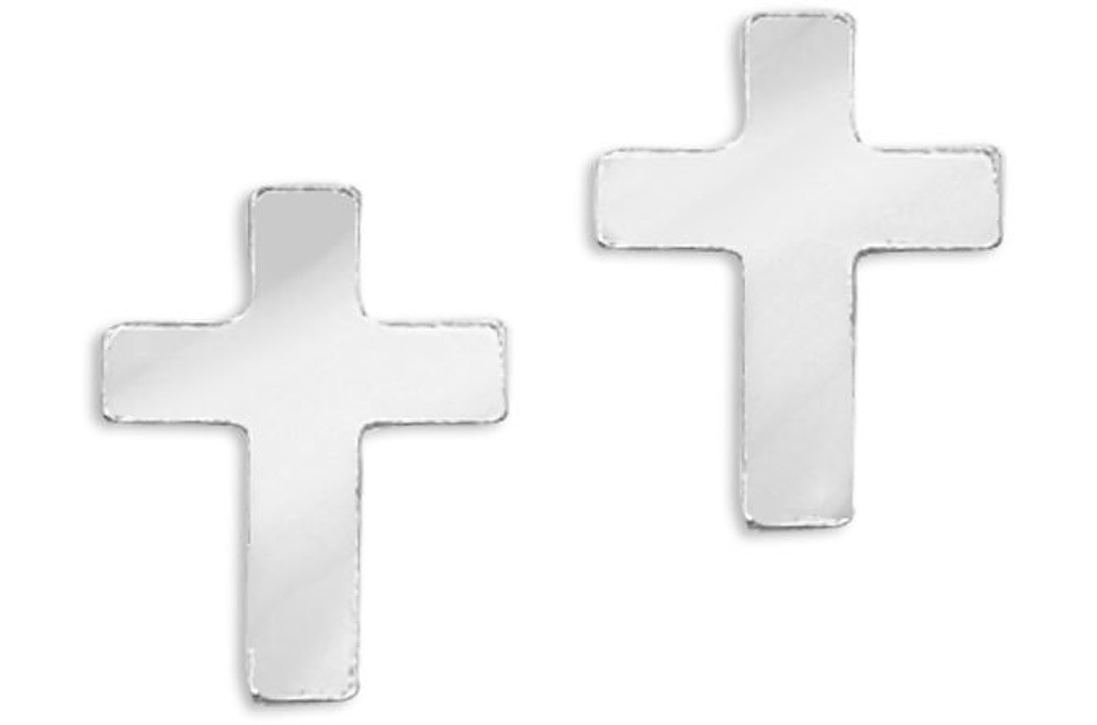 14K White Gold Baby Cross Screwback Earrings