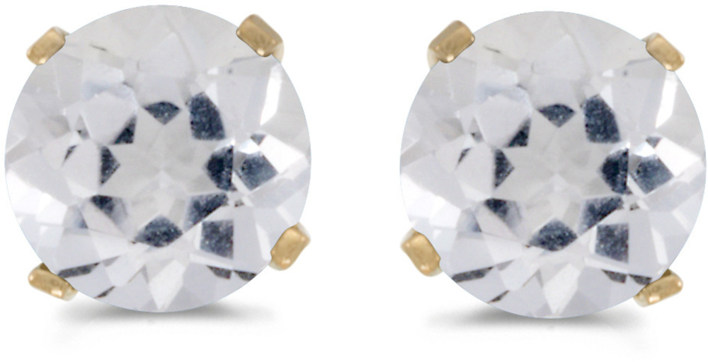 14k Yellow Gold Round White Topaz Stud Earrings (CM-E1471X-04)