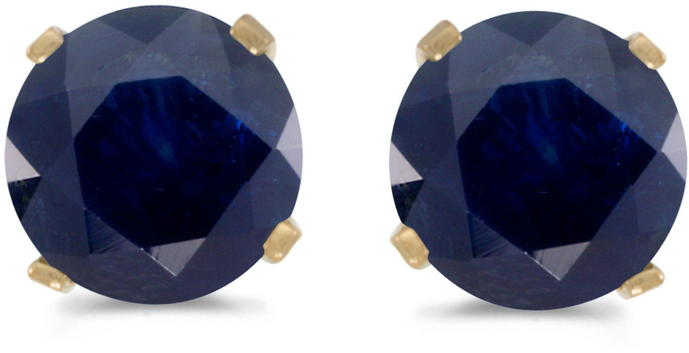 14k Yellow Gold Round Sapphire Stud Earrings (CM-E1471X-09)