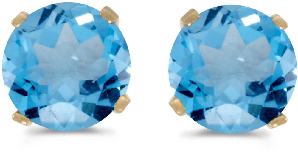 14k Yellow Gold Round Blue Topaz Stud Earrings (CM-E1471X-12)
