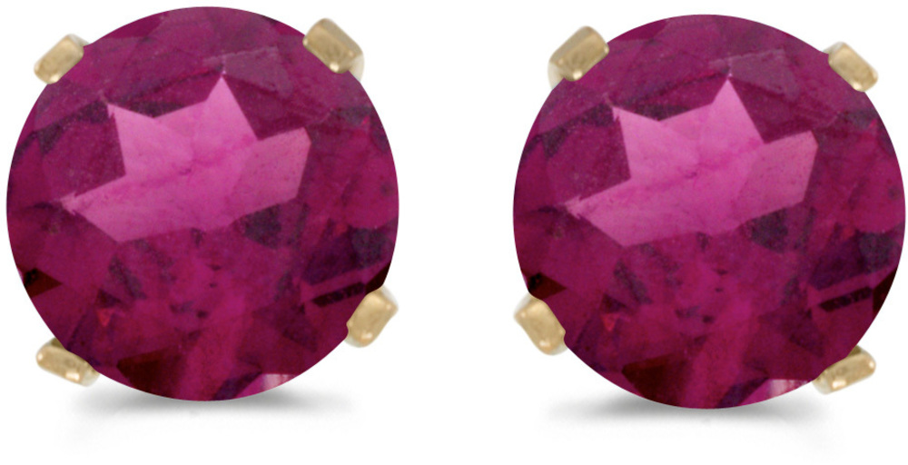 14k Yellow Gold Round Rhodolite Garnet Stud Earrings (CM-E1471X-RG)