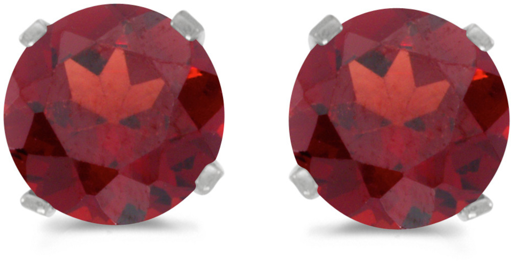 14k White Gold Round Garnet Stud Earrings (CM-E1471XW-01)