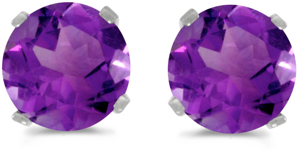 14k White Gold Round Amethyst Stud Earrings (CM-E1471XW-02)