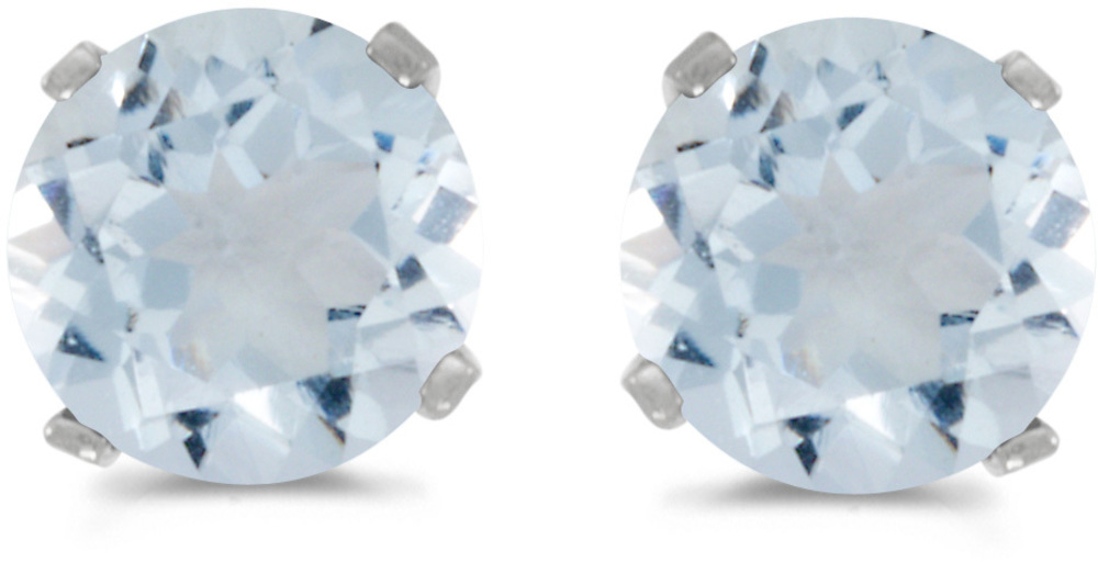 14k White Gold Round Natural Aquamarine Stud Earrings