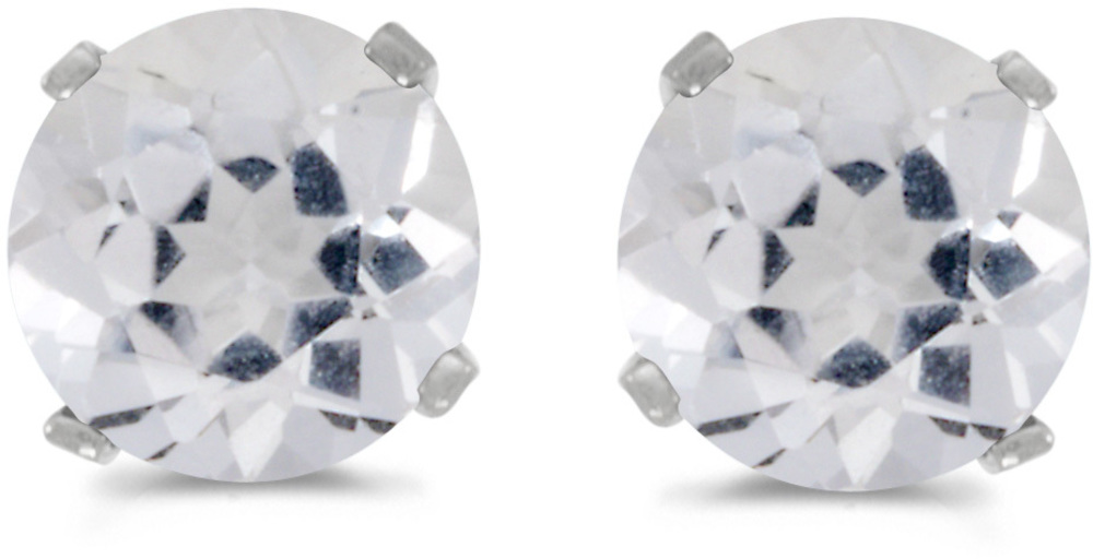 14k White Gold Round White Topaz Stud Earrings (CM-E1471XW-04)