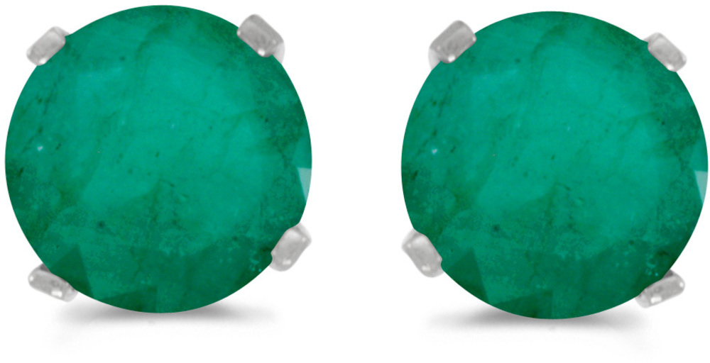 14k White Gold Round Emerald Stud Earrings (CM-E1471XW-05)
