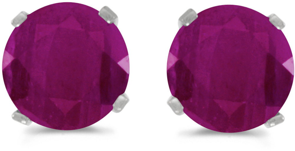 14k White Gold Round Ruby Stud Earrings (CM-E1471XW-07)