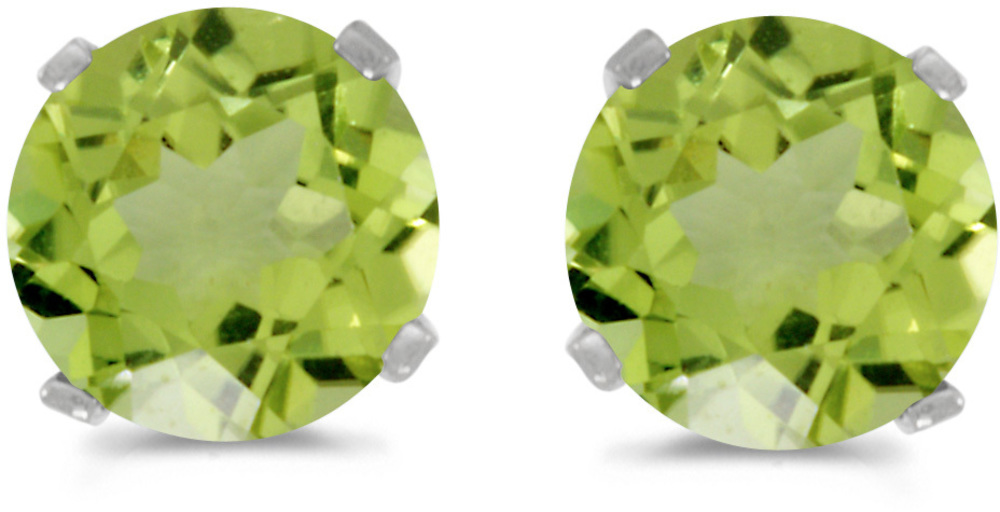 14k White Gold Round Peridot Stud Earrings (CM-E1471XW-08)