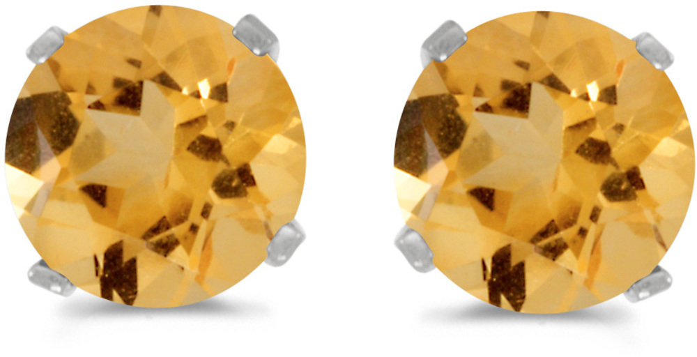 14k White Gold Round Citrine Stud Earrings (CM-E1471XW-11)