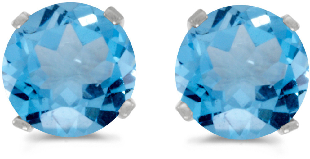 14k White Gold Round Blue Topaz Stud Earrings (CM-E1471XW-12)