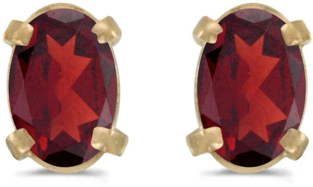 14k Yellow Gold Oval Garnet Earrings (CM-E1551X-01)