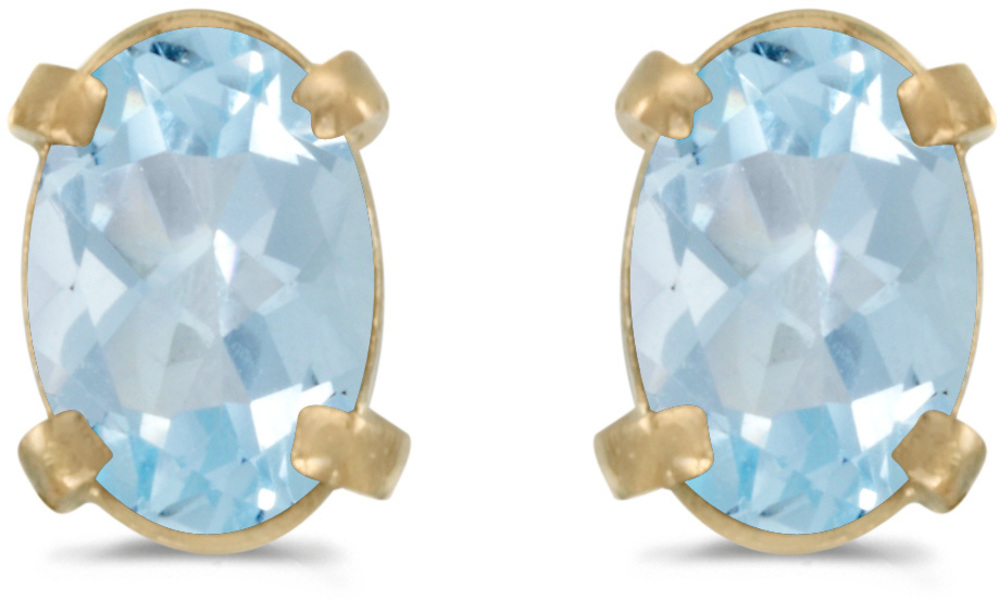 14k Yellow Gold Oval Aquamarine Earrings (CM-E1551X-03)