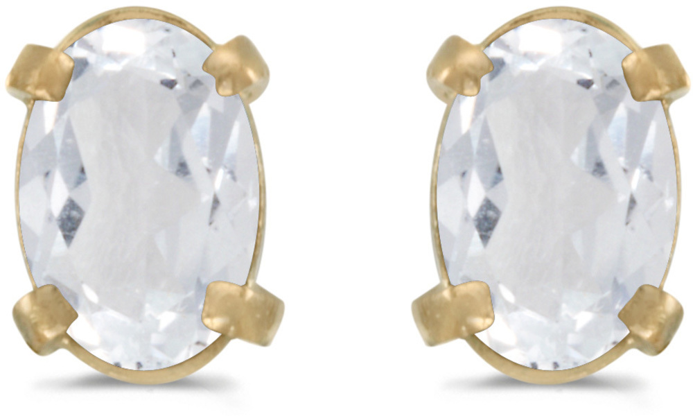 14k Yellow Gold Oval White Topaz Earrings (CM-E1551X-04)
