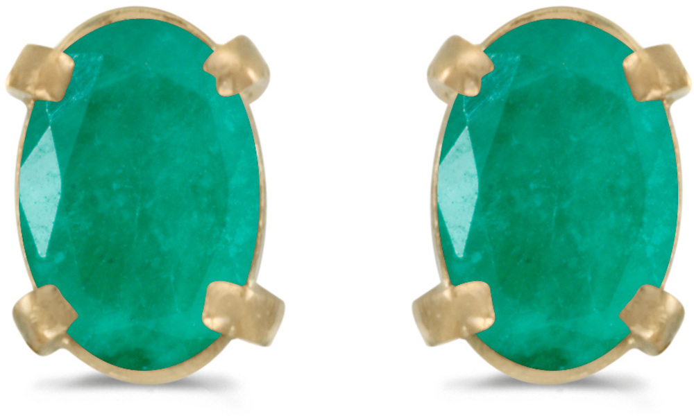 14k Yellow Gold Oval Emerald Earrings (CM-E1551X-05)