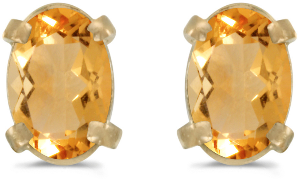 14k Yellow Gold Oval Citrine Earrings (CM-E1551X-11)