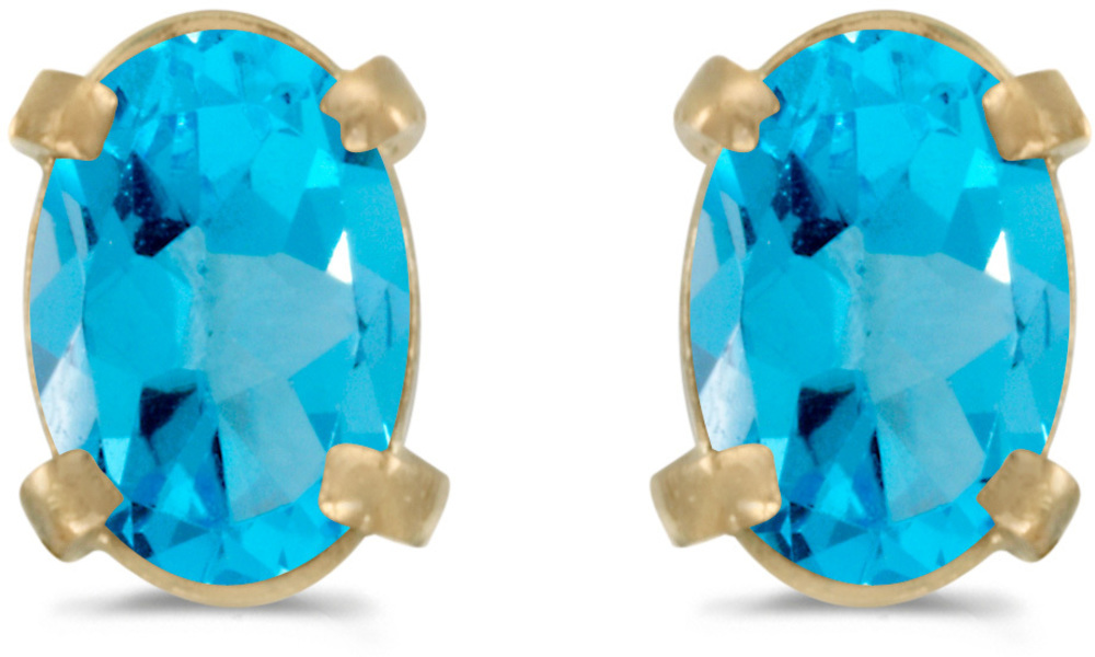 14k Yellow Gold Oval Blue Topaz Earrings (CM-E1551X-12)