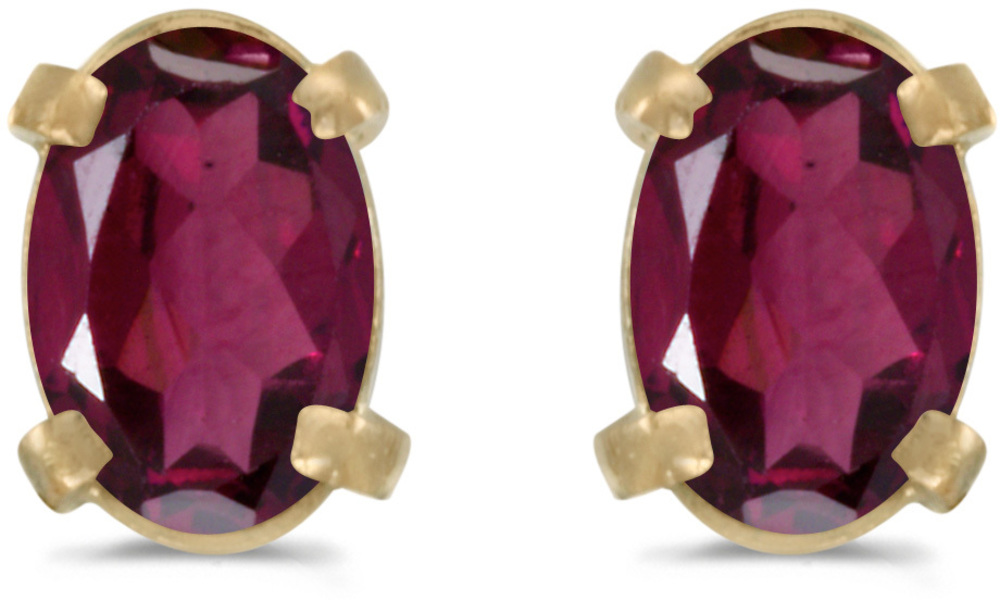 14k Yellow Gold Oval Rhodolite Garnet Earrings (CM-E1551X-RG)